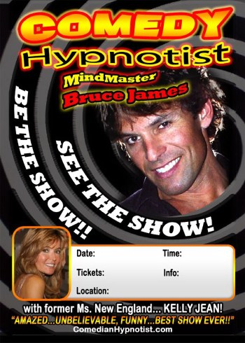 The Comedian Hypnotist - Bruce James - top comedy Hypnotism entertainer, can entertain at conferences, seminars, clubs, universities, etc., at events anywhere in the world with his Hilarious Stage Hypnosis (Hypnotism) Show.